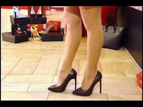 Коричневые туфли лодочки на шпильке