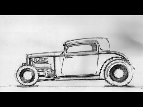 How To Draw A Car Hot Rod Sketch 18082014 Youtube