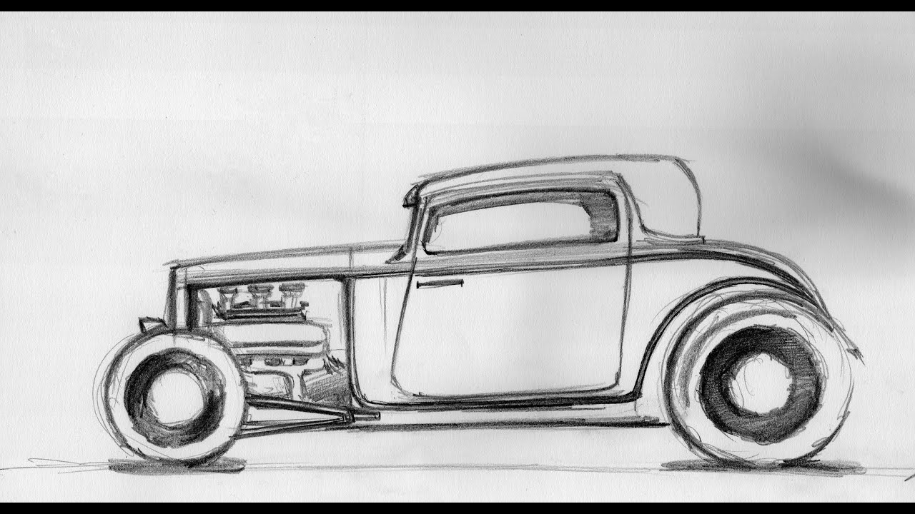 How to draw a car - Hot rod Sketch 18.08.2014 - YouTube