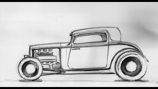 How to draw a car - Hot rod Sketch 18.08.2014