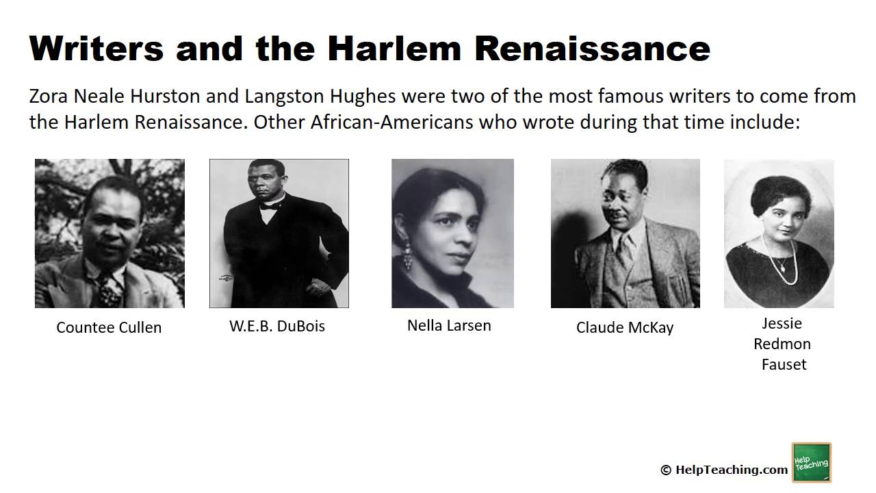 literature in the harlem renaissance essays Jonathan validates the harlem renaissance: with its origins in harlem, new york the renaissance affected the united states through literature, drama, music and longs hughes expressed themselves and their beliefs through actions and through pieces of writing.