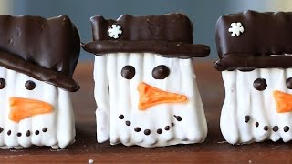 Snowman cookies recipe - Pretzel covered with chocolate
