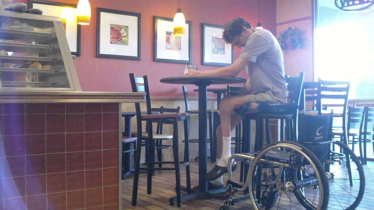 Attirant Wheelchair Style   Transfer Wheelchair To High Chair At Fast Food Sub  Restaurant   L1 Injury 9 27 13   YouTube