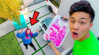 DROPPING WATER BALLOONS ON LIZZY CAPRI!!