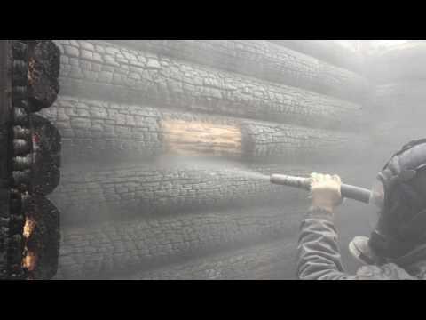 Очистка срубовой бани после пожара и шлифовка бруса 1 часть
