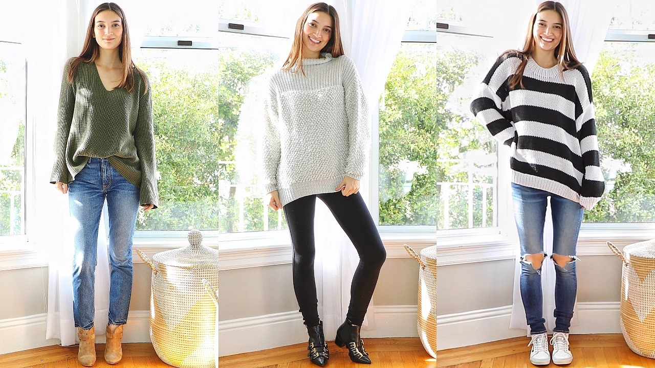 5a2e013921 how to style oversized sweaters chunky knits - YouTube
