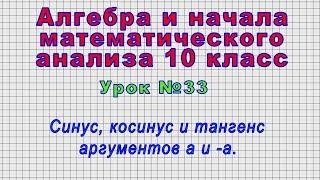 Алгебра 10 класс (Урок№33 - Синус, косинус и тангенс аргументов а и -а.)