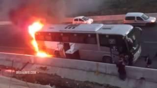 احتراق حافلة بجاية-الجزائر على الطريق السريع.