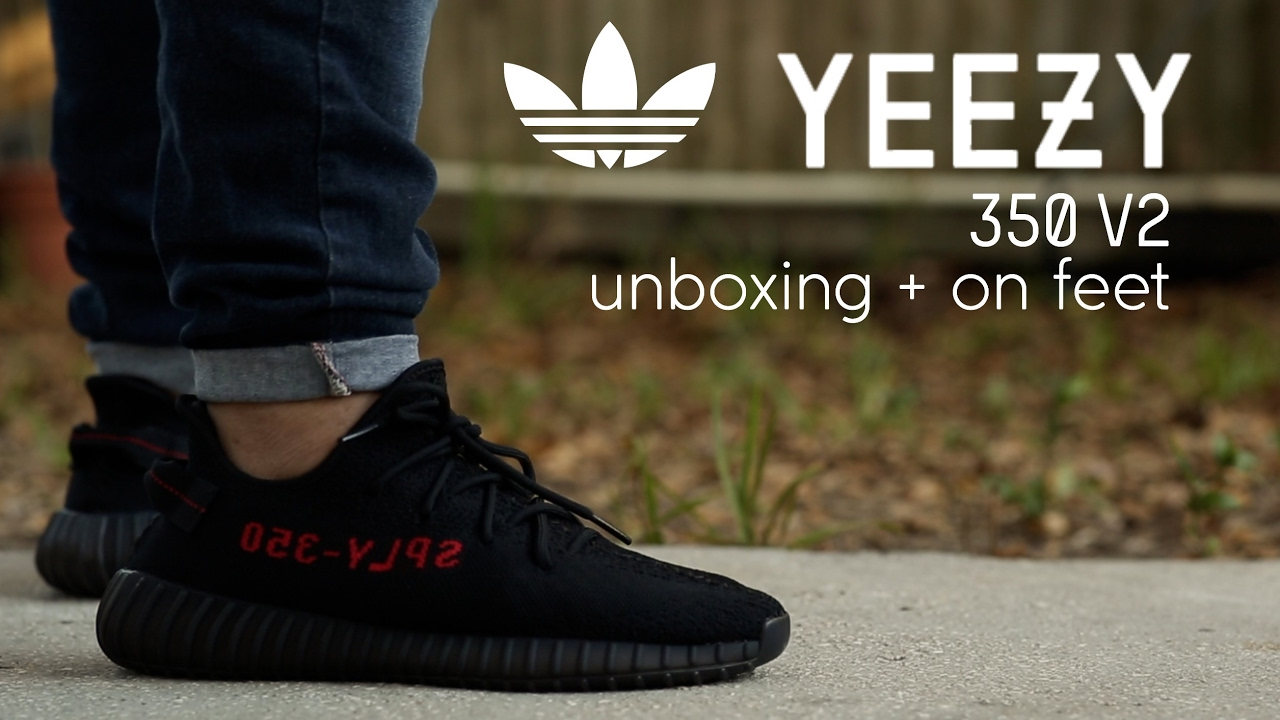 Adidas Unboxing V2 Feet Boost 'bred' 350 Yeezy On vy8mnNw0O