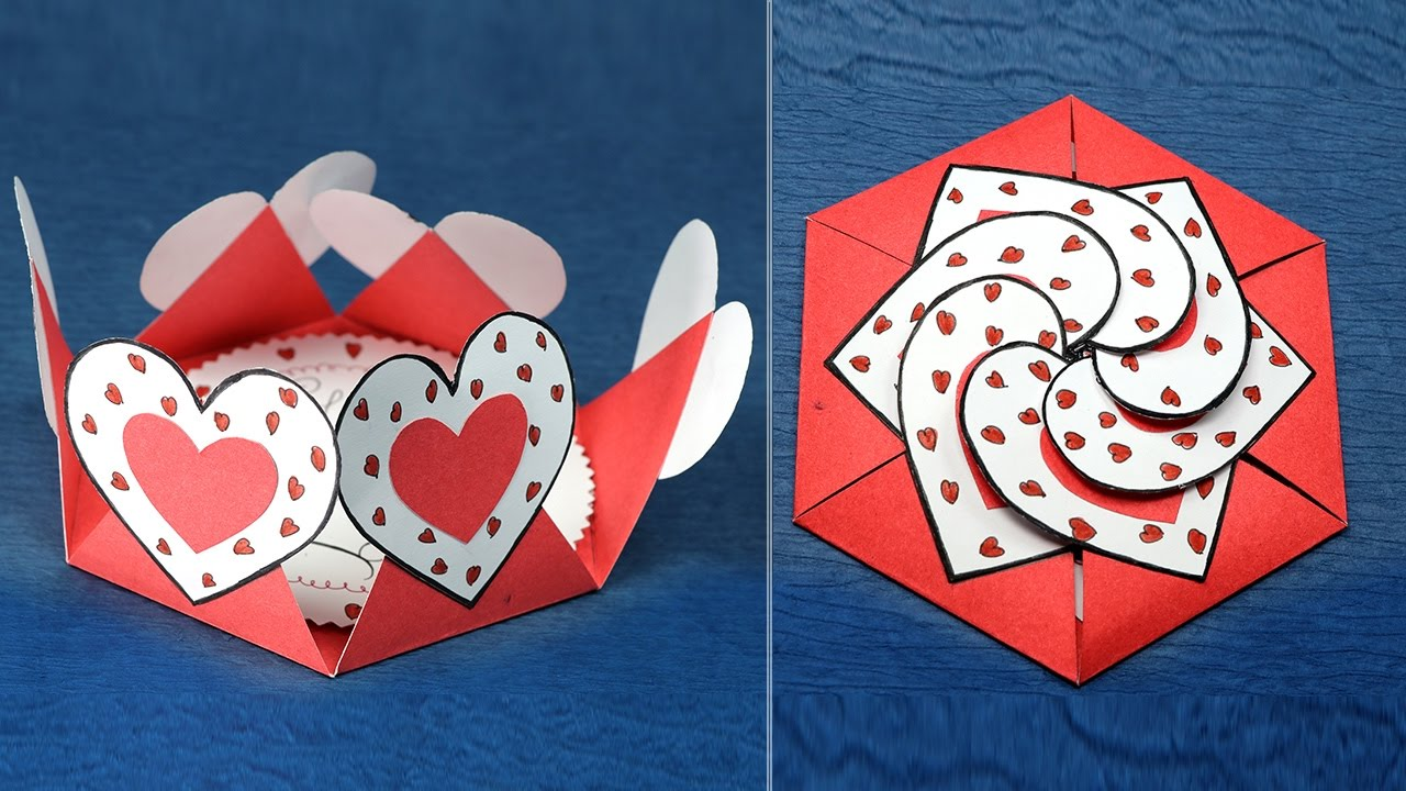 DIY Valentine Card   Hexagon Shape Heart Message Card   YouTube