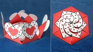 Repeat youtube video DIY Valentine Card- Hexagon Shape Heart Message Card