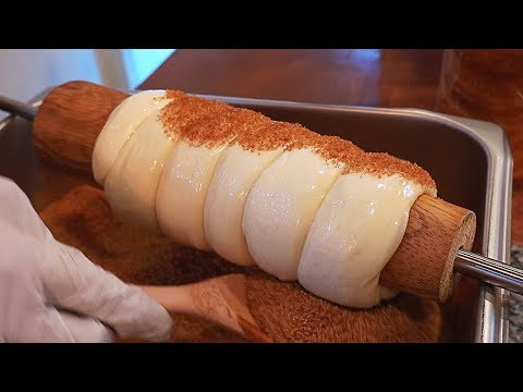 making Cinnamon Chimney Cake Trdelnik (Trdlo) / 굴뚝빵