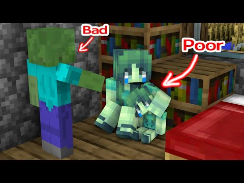 Monster School : Poor Baby Zombie Girl and Bad Zombie Dad - Minecraft Animation