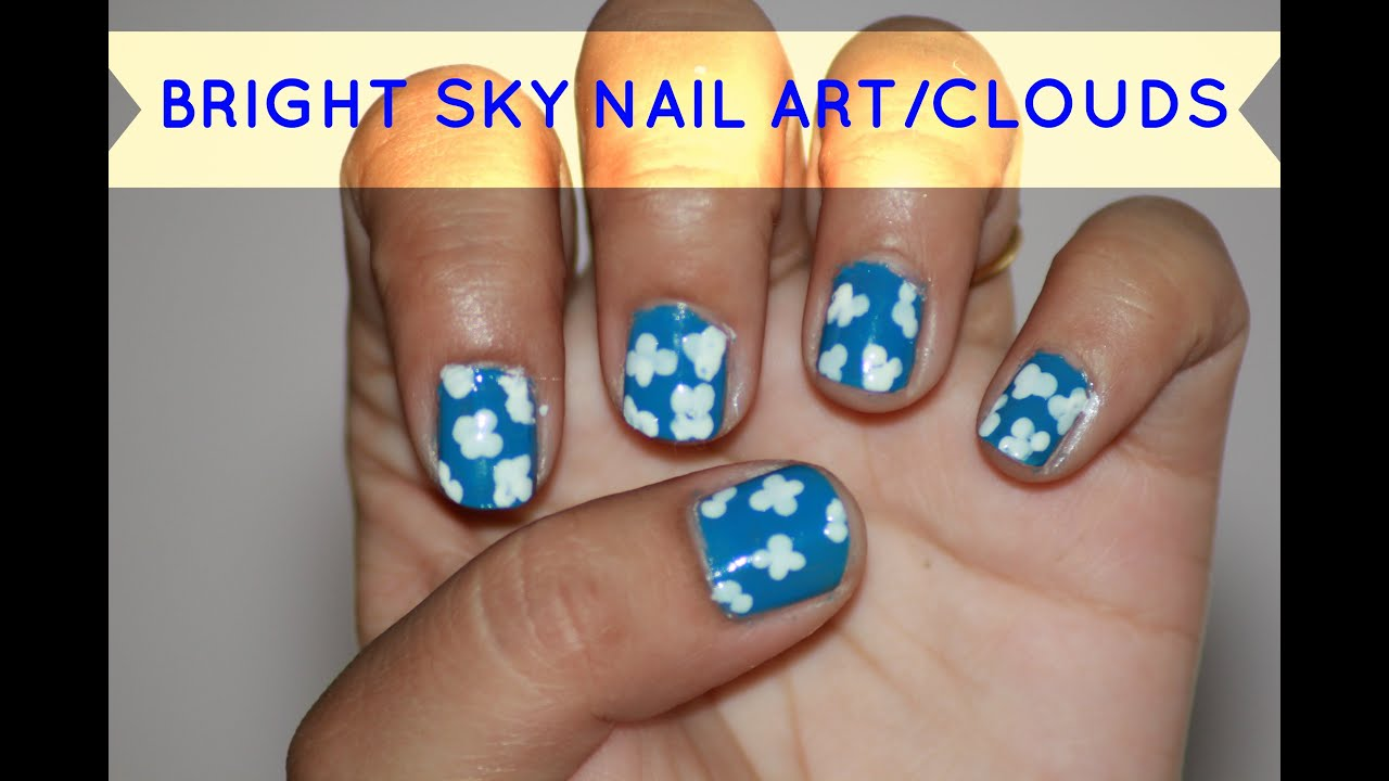 Diy Easy Beginner Blue White Nail Art Without Tools Sky Nail Art