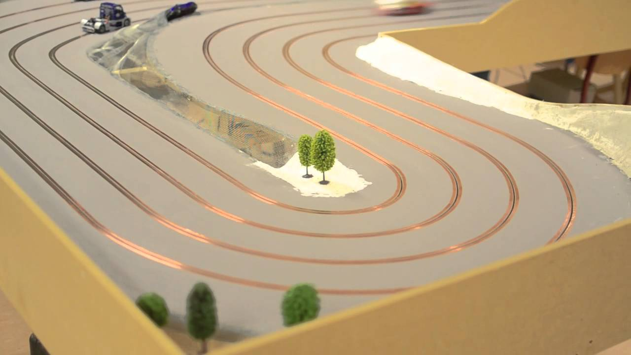 My Third Slot Car Track 4 Lane Portable Track YouTube