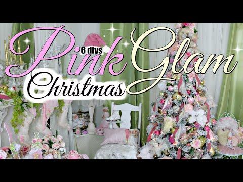 "🎄6 DIY DOLLAR TREE GLAM PINK CHRISTMAS TREE DECORATING MANTEL 🎄SUGARPLUM ""I Love Christmas"" ep 26"