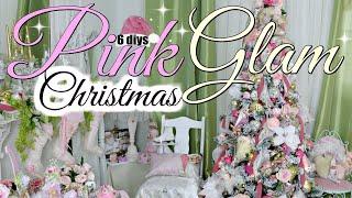 🎄6 DIY DOLLAR TREE GLAM PINK CHRISTMAS TREE DECORATING MANTEL 🎄SUGARPLUM