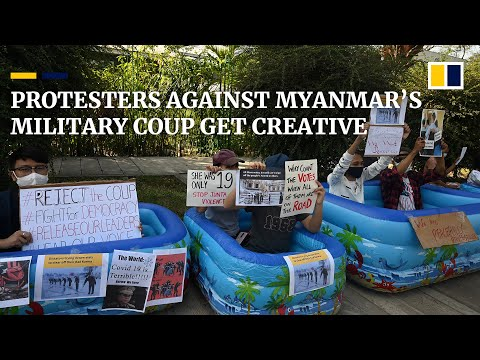 Myanmar's protesters get creative as thousands demonstrate against military coup for fifth day