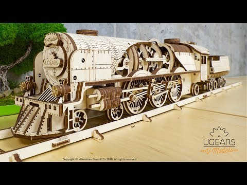 Ugears V-Express Steam Train with Tender Model Kit Assembly Video