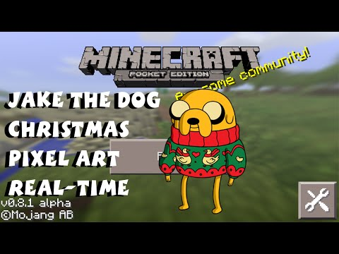 Jake the Dog Adventure Time Christmas Pixel Art in Minecraft Tutorial
