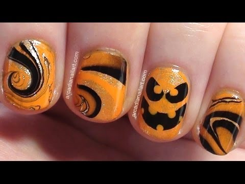 easy halloween pumpkin water marble nail art arcadianailart easy nail art - Halloween Easy Nail Art