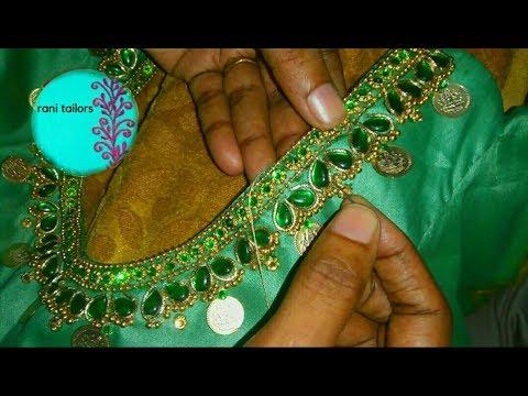 Normal needlework in stitched blouse / Aari /Maggam work