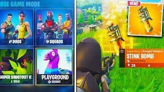 NEW STINK BOMB GAMEPLAY V4.4 UPDATE + NEW PLAYGROUND GAME MODE TONIGHT (Fortnite Battle Royale Live)