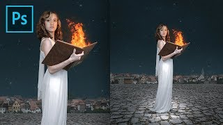 Fantasy Photo Editing in Photoshop CC 2018 - Fire Book Magic