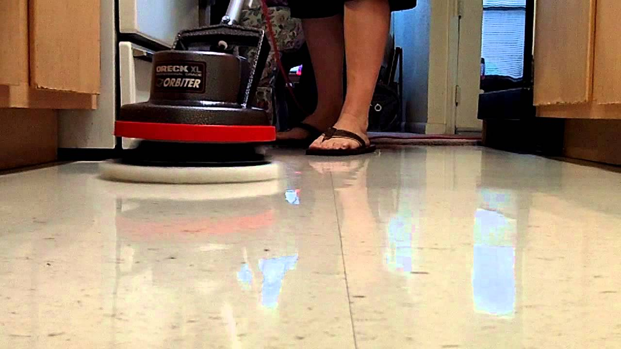 Spray Buffing A Waxed Floor With Oreck Orbiter Youtube