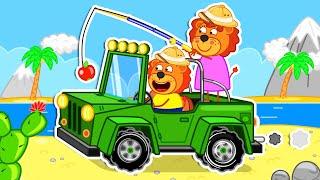 Lion family 🍒 Pretend Play Safari   Cartoon for Kids