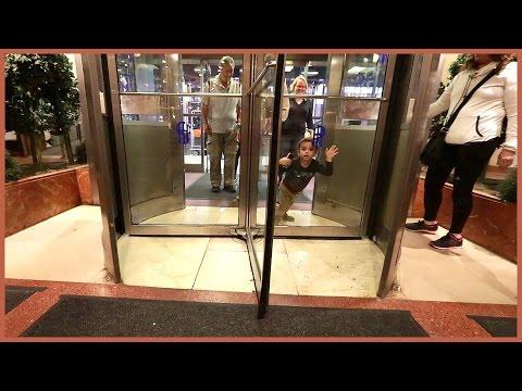 BOY STUCK IN REVOLVING DOOR!!