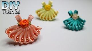 DIY || How to make kanzashi little dress | Satin ribbon | Hair clips | Bros Gaun | Jepit rambut
