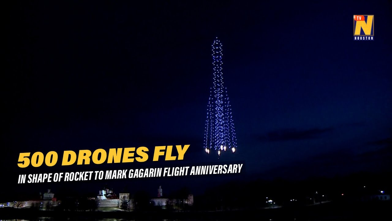 500 drones fly in the shape of rocket to mark Gagarin flight anniversary
