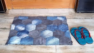Old jeans Doormat Making at Home || Best Out of Waste Idea || Waste Materials Craft Idea