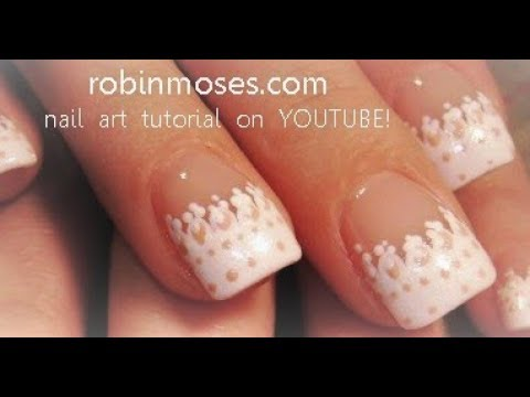 Easy Nail Art For Beginners White French Lace Nails Design Youtube