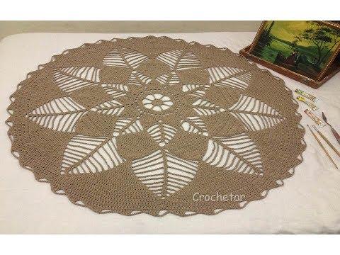 Tapetão Folhagem (redondo) crochê - Professora Maria Rita