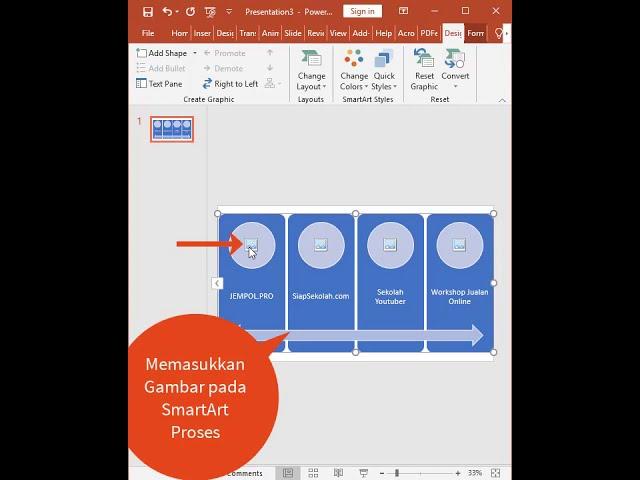 Tutorial Belajar Kursus Komputer Ms. PowerPoint Membuat SmartArt Proses pada Slide Presentasi