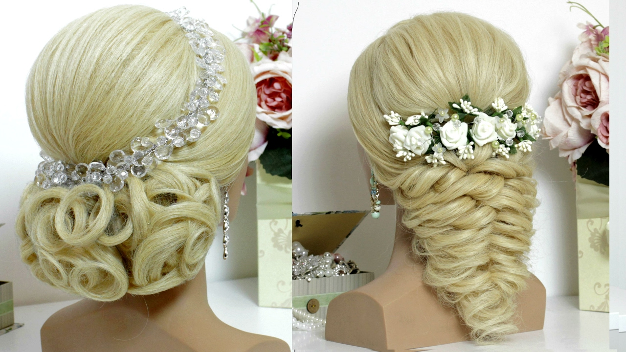 2 bridal prom hairstyles for long hair tutorial - YouTube