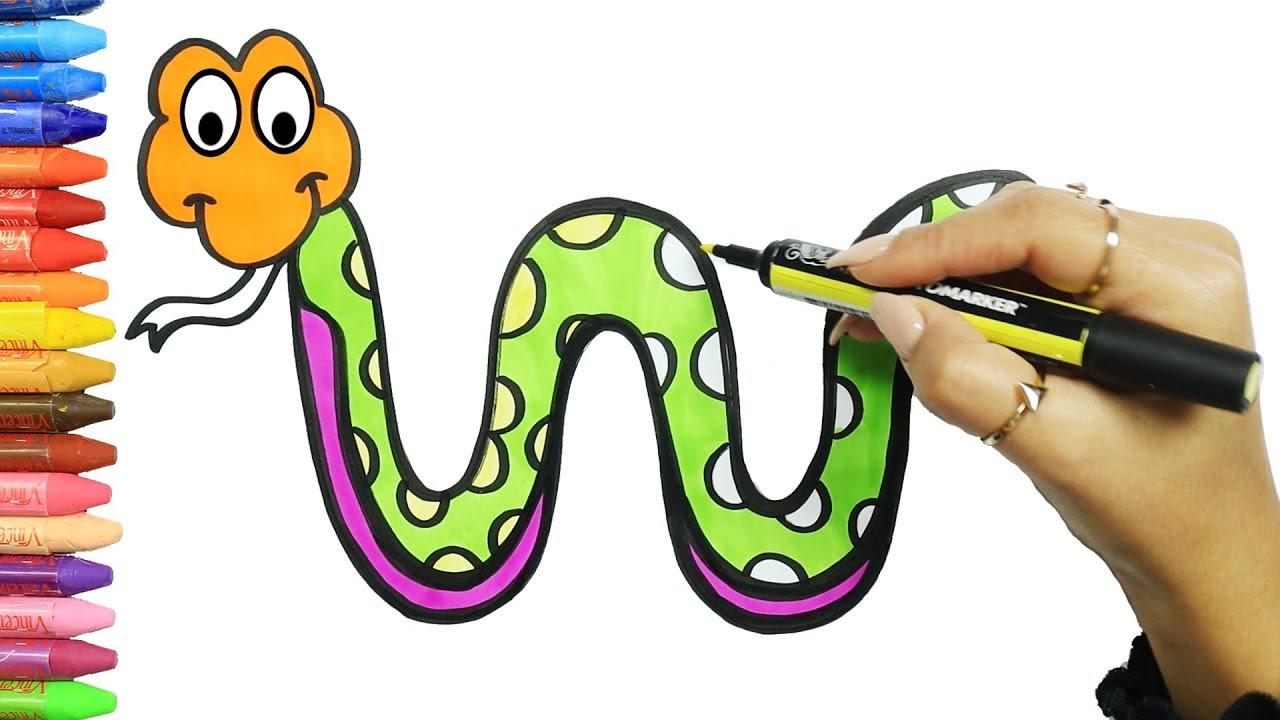 Wie Zeichnet Man Schlange Zeichnen Und Ausmalen Fur Kinder Mit Mimi Youtube