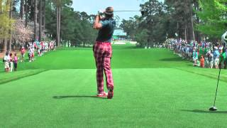 Ian Poulter and Justin Rose practicing on the 7th hole Augusta National 2013