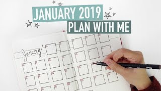 Bullet Journal JANUARY PLAN WITH ME 2019 | meal planner + workout challenge