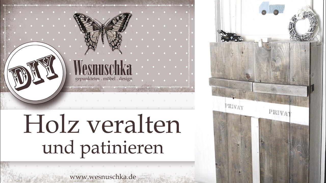 Patina Holz diy wood optik patina schablonieren shabby chic budget
