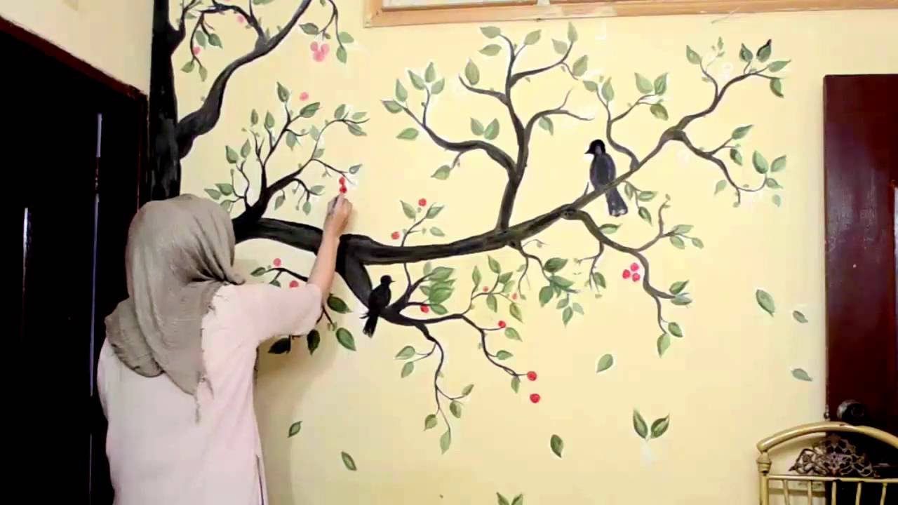 Tree wall painting - YouTube