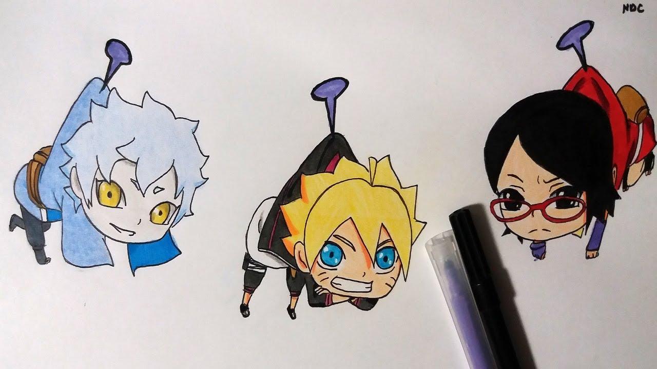 Drawing Chibi Team Konohamaru Mitsuki Boruto Sarada