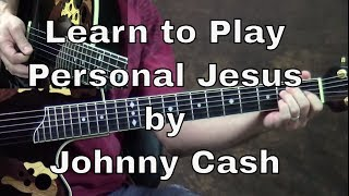 How To Play Personal Jesus Guitar Lesson by Johnny Cash