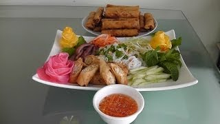 Vietnamese Egg Roll With Pork Patty And Vermicelli Noodles | Bún Chả Giò Nem Nứơng
