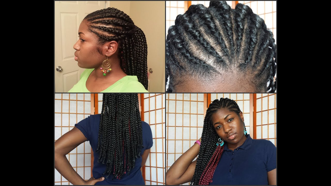 Hairstyles With Box Braids: Cornrows + Box Braids = TOO CUTE!💖