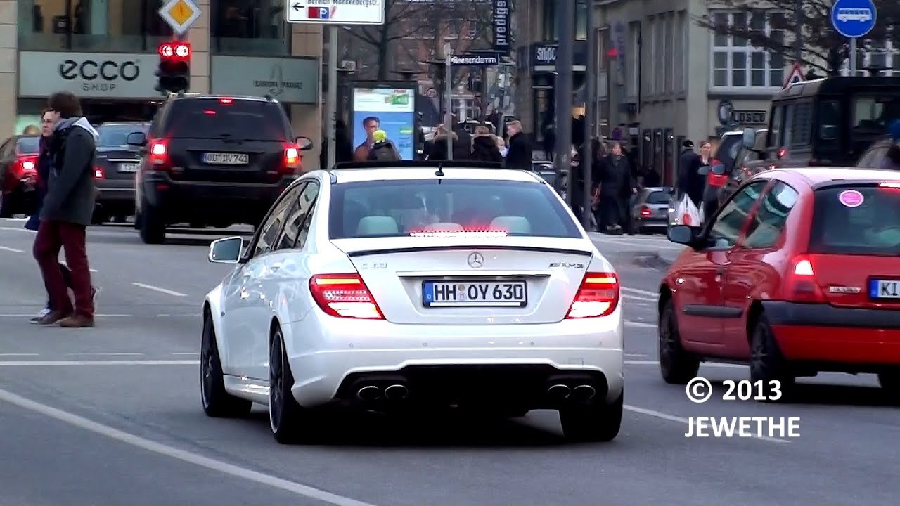 2x mercedes benz c63 amg 39 s loud sounds in hamburg 1080p full hd youtube. Black Bedroom Furniture Sets. Home Design Ideas