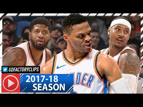 Russell Westbrook, Carmelo Anthony & Paul George BIG 3 Highlights vs Blazers (2018.01.09) - 63 Pts
