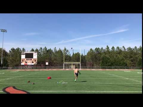 punt rugby style hits crossbar over 50 yards